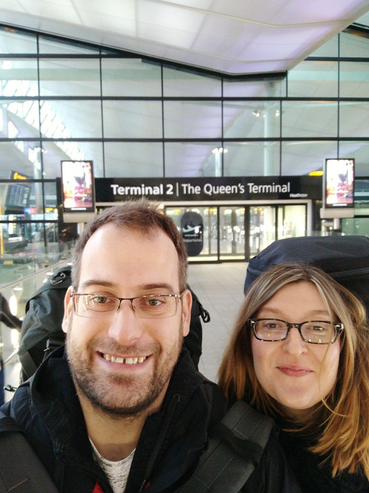 Chris and Jo at Heathrow, Terminal 2, ready to go